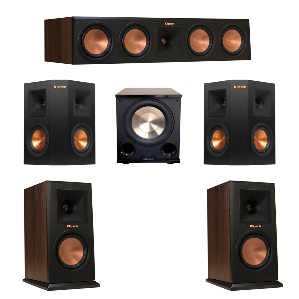 Klipsch 5.1 Walnut System with 2 RP-150M Monitor Speakers, 1 RP-450C Center Speaker, 2 Klipsch RP-240S Ebony Surround Speakers, 1 BIC/Acoustech Platinum Series PL-200 II Subwoofer
