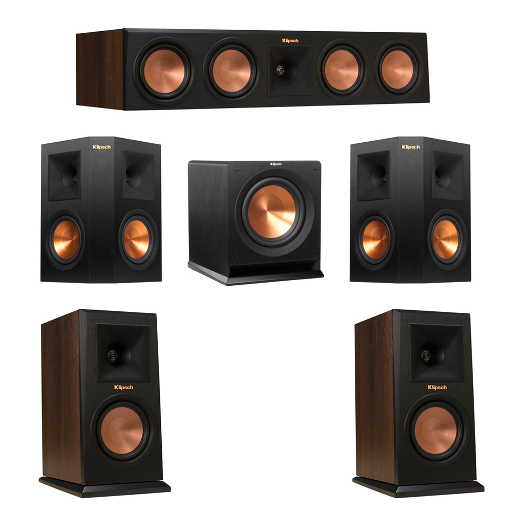 Klipsch 5.1 Walnut System with 2 RP-150M Monitor Speakers, 1 RP-450C Center Speaker, 2 Klipsch RP-250S Ebony Surround Speakers, 1 Klipsch R-110SW Subwoofer