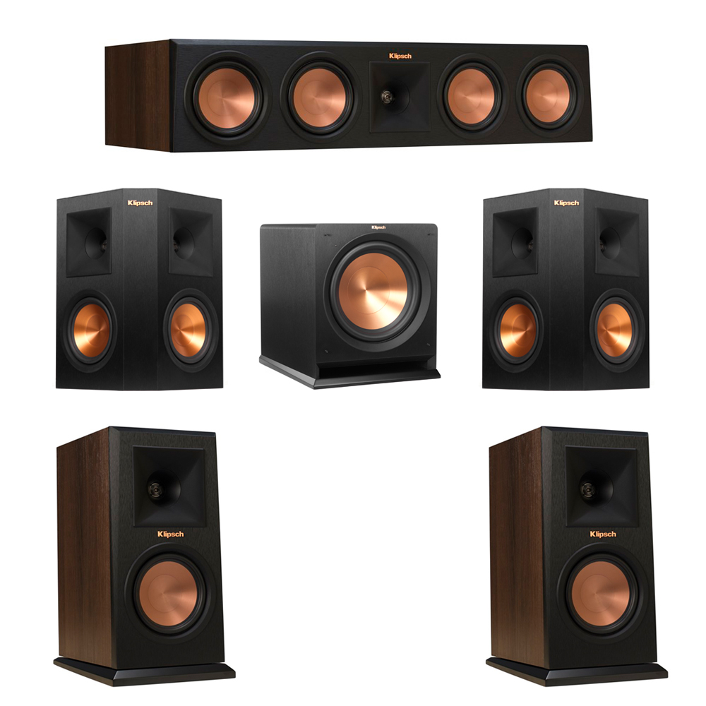 Klipsch 5.1 Walnut System with 2 RP-150M Monitor Speakers, 1 RP-450C Center Speaker, 2 Klipsch RP-250S Ebony Surround Speakers, 1 Klipsch R-112SW Subwoofer