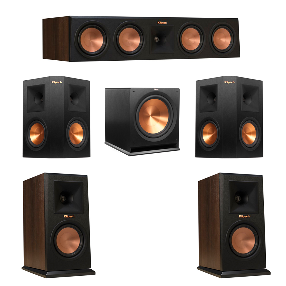 Klipsch 5.1 Walnut System with 2 RP-150M Monitor Speakers, 1 RP-450C Center Speaker, 2 Klipsch RP-250S Ebony Surround Speakers, 1 Klipsch R-115SW Subwoofer
