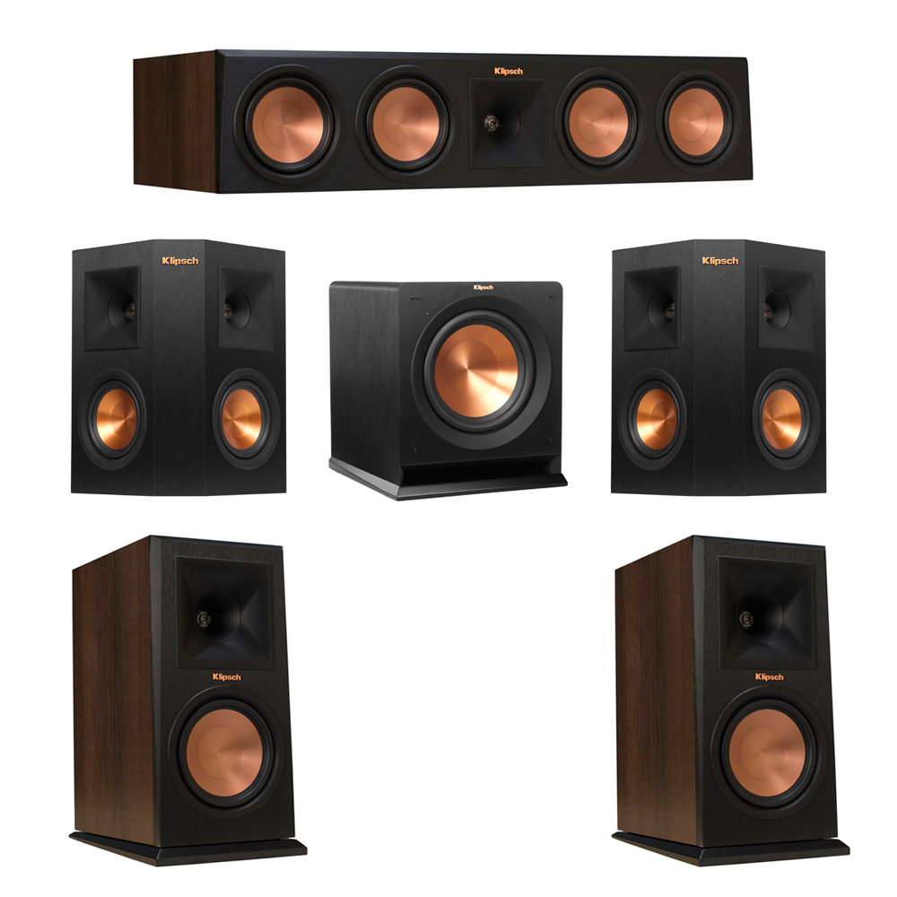 Klipsch 5.1 Walnut System with 2 RP-160M Monitor Speakers, 1 RP-450C Center Speaker, 2 Klipsch RP-240S Ebony Surround Speakers, 1 Klipsch R-110SW Subwoofer