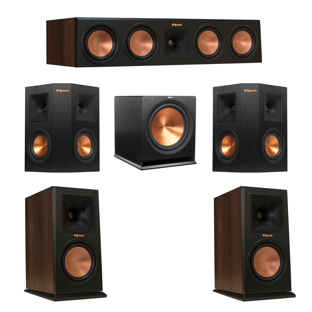 Klipsch 5.1 Walnut System with 2 RP-160M Monitor Speakers, 1 RP-450C Center Speaker, 2 Klipsch RP-240S Ebony Surround Speakers, 1 Klipsch R-115SW Subwoofer