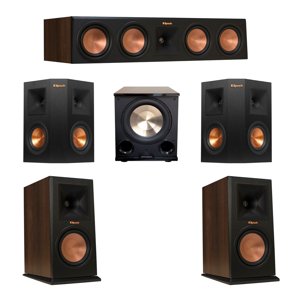 Klipsch 5.1 Walnut System with 2 RP-160M Monitor Speakers, 1 RP-450C Center Speaker, 2 Klipsch RP-240S Ebony Surround Speakers, 1 BIC/Acoustech Platinum Series PL-200 II Subwoofer