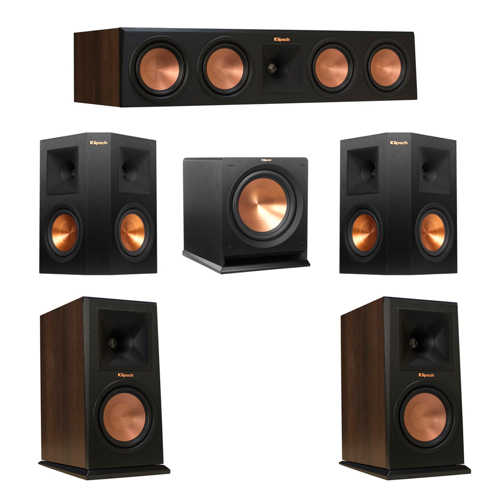 Klipsch 5.1 Walnut System with 2 RP-160M Monitor Speakers, 1 RP-450C Center Speaker, 2 Klipsch RP-250S Ebony Surround Speakers, 1 Klipsch R-112SW Subwoofer