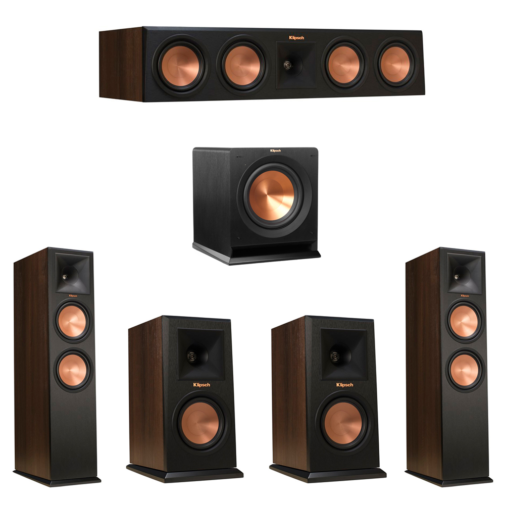 Klipsch 5.1 Walnut System with 2 RP-280F Tower Speakers, 1 RP-450C Center Speaker, 2 Klipsch RP-150M Bookshelf Speakers, 1 Klipsch R-110SW Subwoofer
