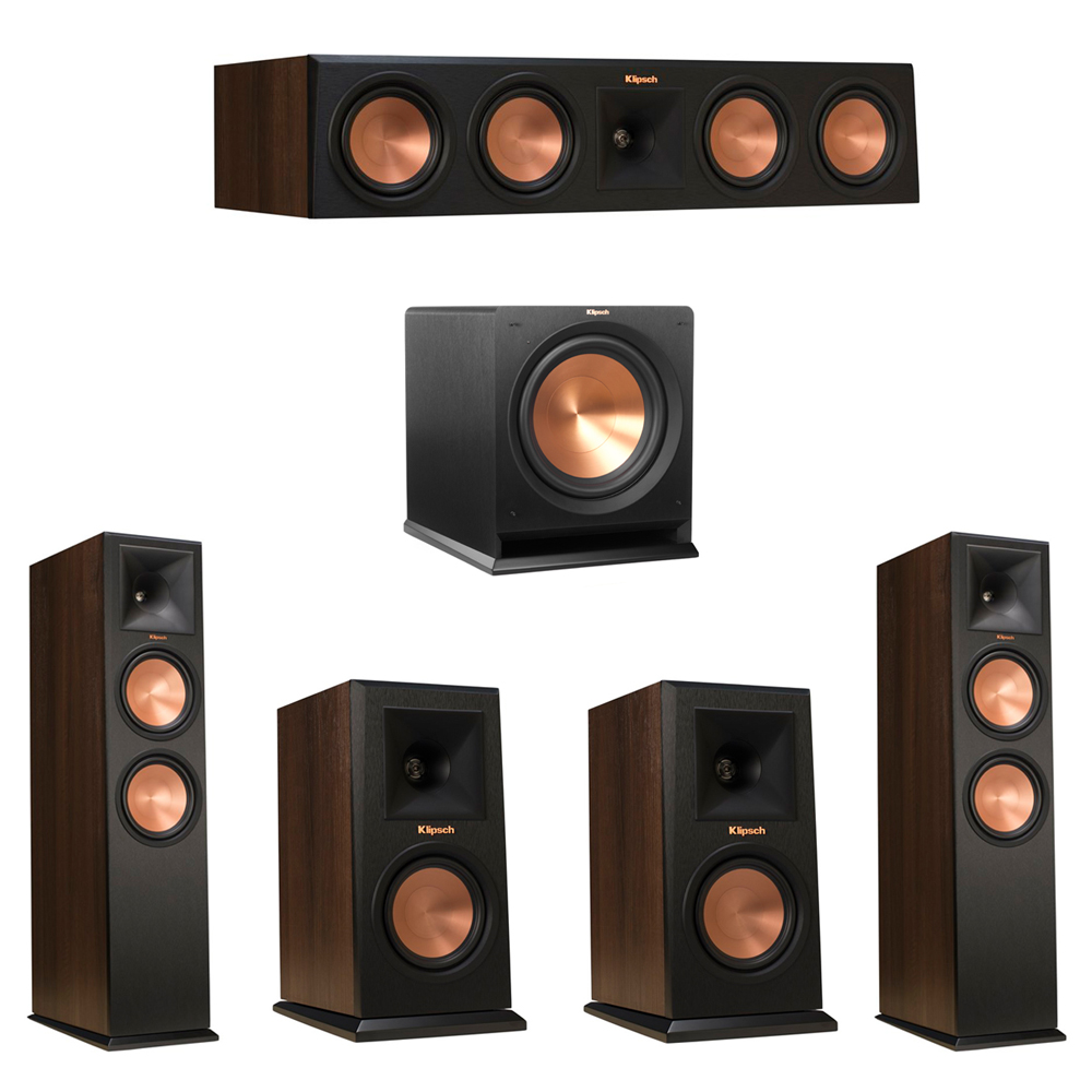 Klipsch 5.1 Walnut System with 2 RP-280F Tower Speakers, 1 RP-450C Center Speaker, 2 Klipsch RP-150M Bookshelf Speakers, 1 Klipsch R-112SW Subwoofer