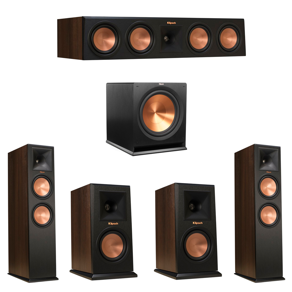 Klipsch 5.1 Walnut System with 2 RP-280F Tower Speakers, 1 RP-450C Center Speaker, 2 Klipsch RP-150M Bookshelf Speakers, 1 Klipsch R-115SW Subwoofer
