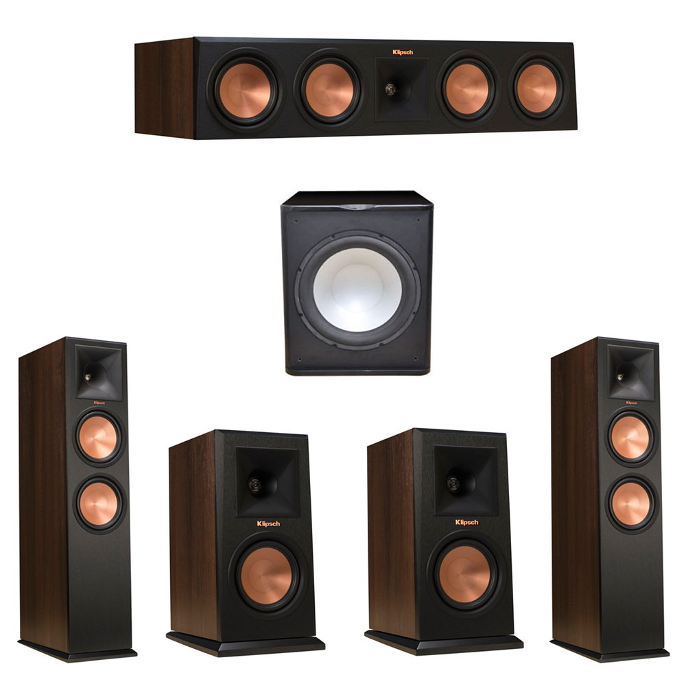 Klipsch 5.1 Walnut System with 2 RP-280F Tower Speakers, 1 RP-450C Center Speaker, 2 Klipsch RP-150M Bookshelf Speakers, 1 Premier Acoustic PA-150 Subwoofer
