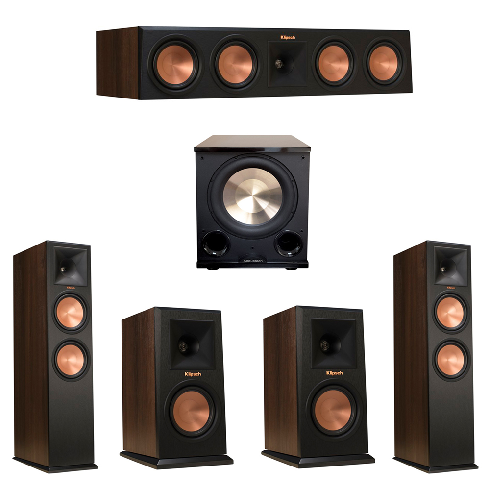 Klipsch 5.1 Walnut System with 2 RP-280F Tower Speakers, 1 RP-450C Center Speaker, 2 Klipsch RP-150M Bookshelf Speakers, 1 BIC/Acoustech Platinum Series PL-200 II Subwoofer