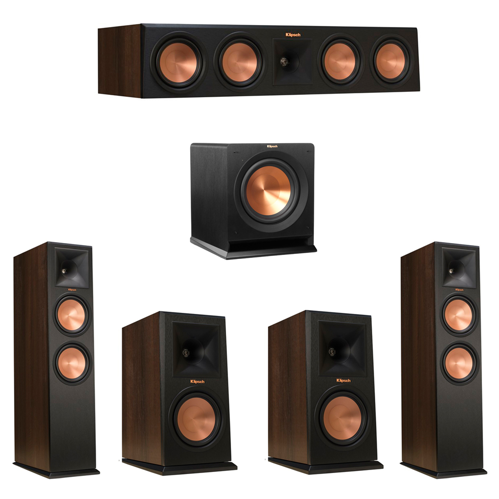 Klipsch 5.1 Walnut System with 2 RP-280F Tower Speakers, 1 RP-450C Center Speaker, 2 Klipsch RP-160M Bookshelf Speakers, 1 Klipsch R-110SW Subwoofer