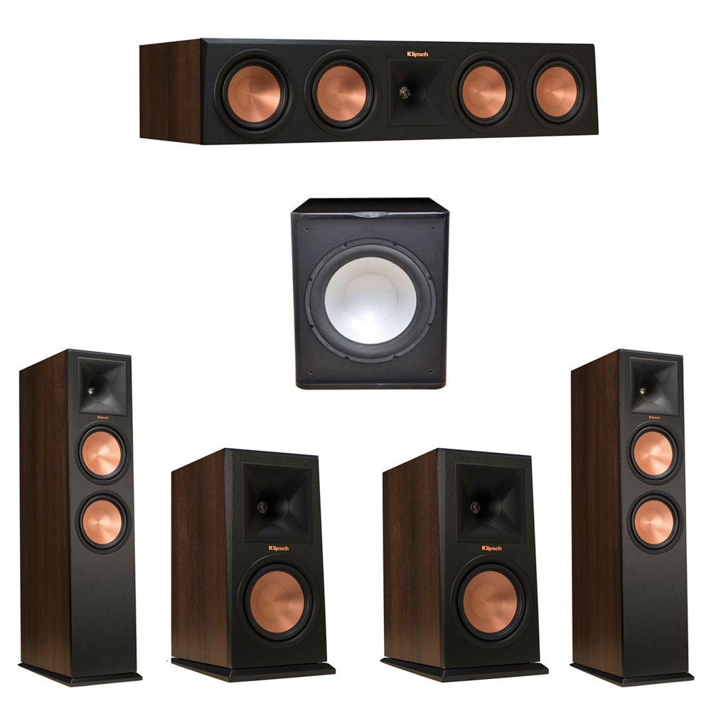 Klipsch 5.1 Walnut System with 2 RP-280F Tower Speakers, 1 RP-450C Center Speaker, 2 Klipsch RP-160M Bookshelf Speakers, 1 Premier Acoustic PA-150 Subwoofer