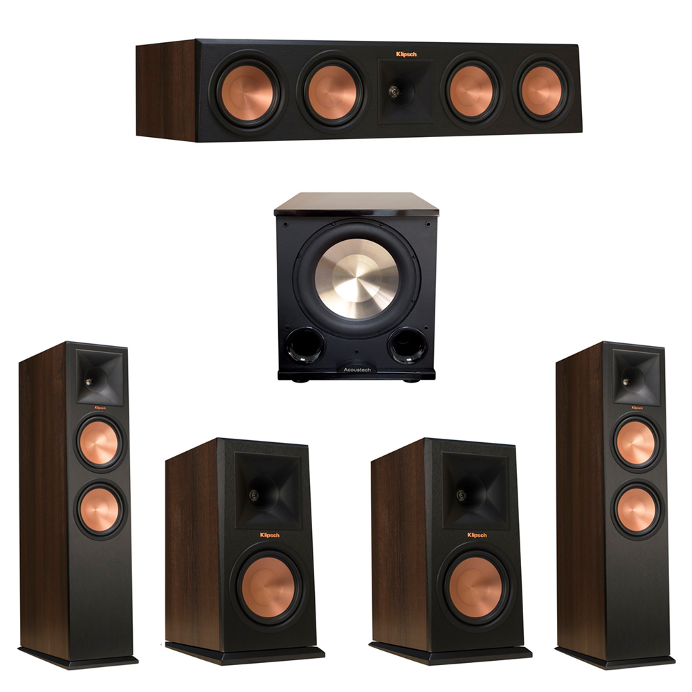 Klipsch 5.1 Walnut System with 2 RP-280F Tower Speakers, 1 RP-450C Center Speaker, 2 Klipsch RP-160M Bookshelf Speakers, 1 BIC/Acoustech Platinum Series PL-200 II Subwoofer
