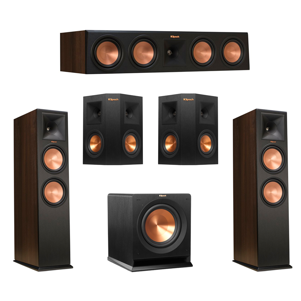Klipsch 5.1 Walnut System with 2 RP-280F Tower Speakers, 1 RP-450C Center Speaker, 2 Klipsch RP-240S Ebony Surround Speakers, 1 Klipsch R-110SW Subwoofer