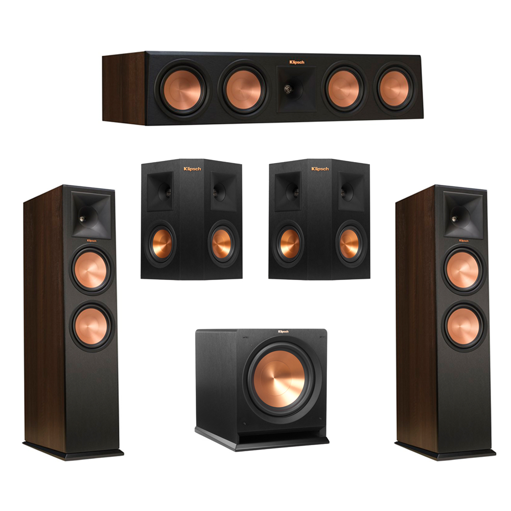 Klipsch 5.1 Walnut System with 2 RP-280F Tower Speakers, 1 RP-450C Center Speaker, 2 Klipsch RP-240S Ebony Surround Speakers, 1 Klipsch R-112SW Subwoofer