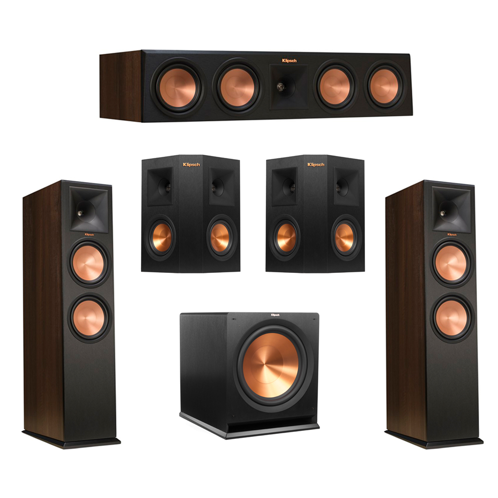 Klipsch 5.1 Walnut System with 2 RP-280F Tower Speakers, 1 RP-450C Center Speaker, 2 Klipsch RP-240S Ebony Surround Speakers, 1 Klipsch R-115SW Subwoofer