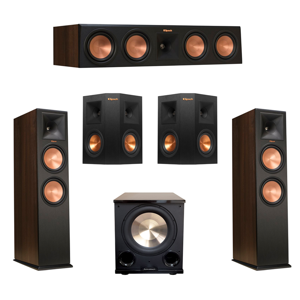 Klipsch 5.1 Walnut System with 2 RP-280F Tower Speakers, 1 RP-450C Center Speaker, 2 Klipsch RP-240S Ebony Surround Speakers, 1 BIC/Acoustech Platinum Series PL-200 II Subwoofer