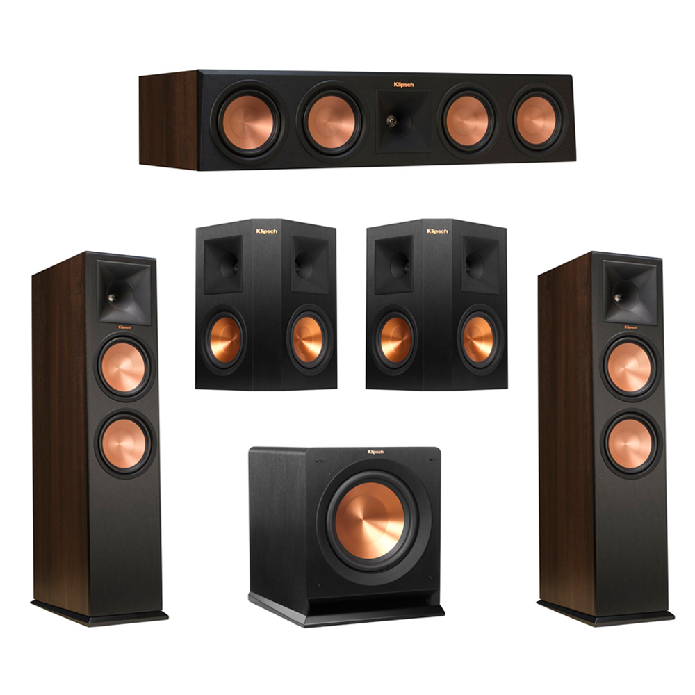 Klipsch 5.1 Walnut System with 2 RP-280F Tower Speakers, 1 RP-450C Center Speaker, 2 Klipsch RP-250S Ebony Surround Speakers, 1 Klipsch R-110SW Subwoofer