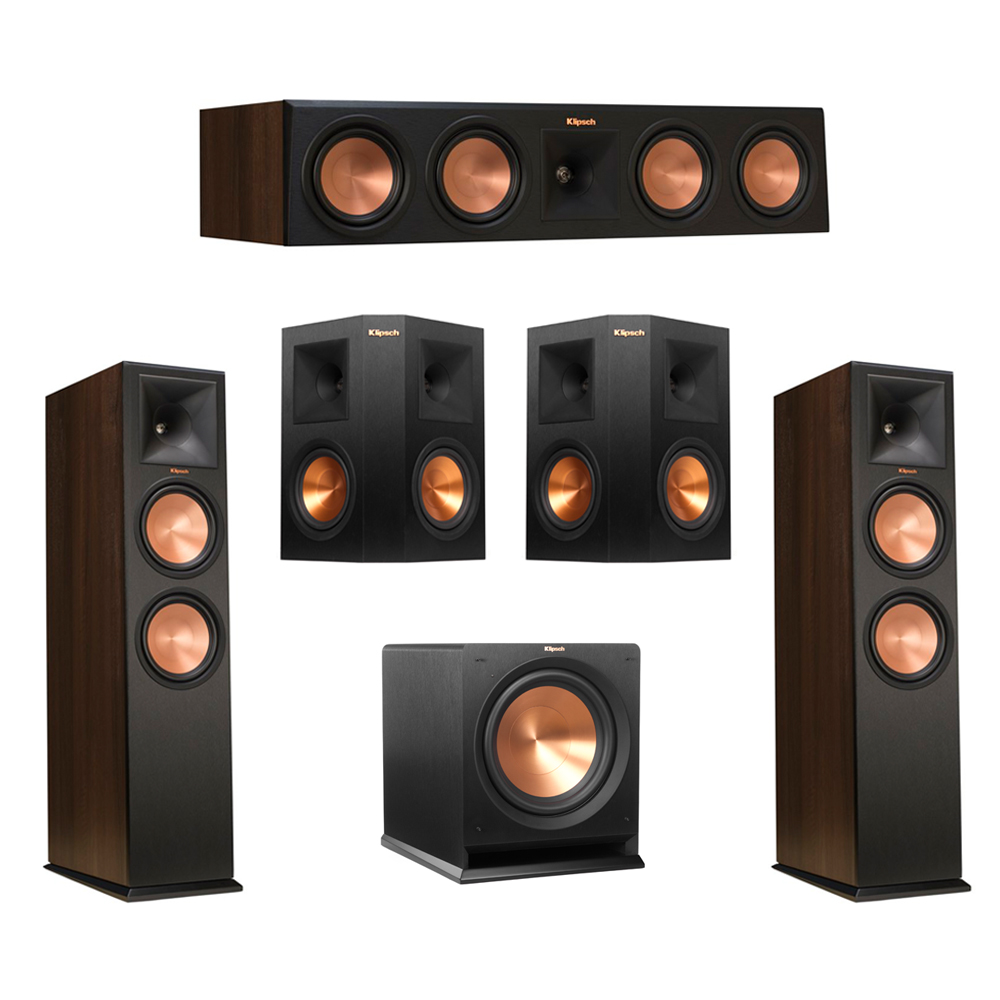 Klipsch 5.1 Walnut System with 2 RP-280F Tower Speakers, 1 RP-450C Center Speaker, 2 Klipsch RP-250S Ebony Surround Speakers, 1 Klipsch R-112SW Subwoofer