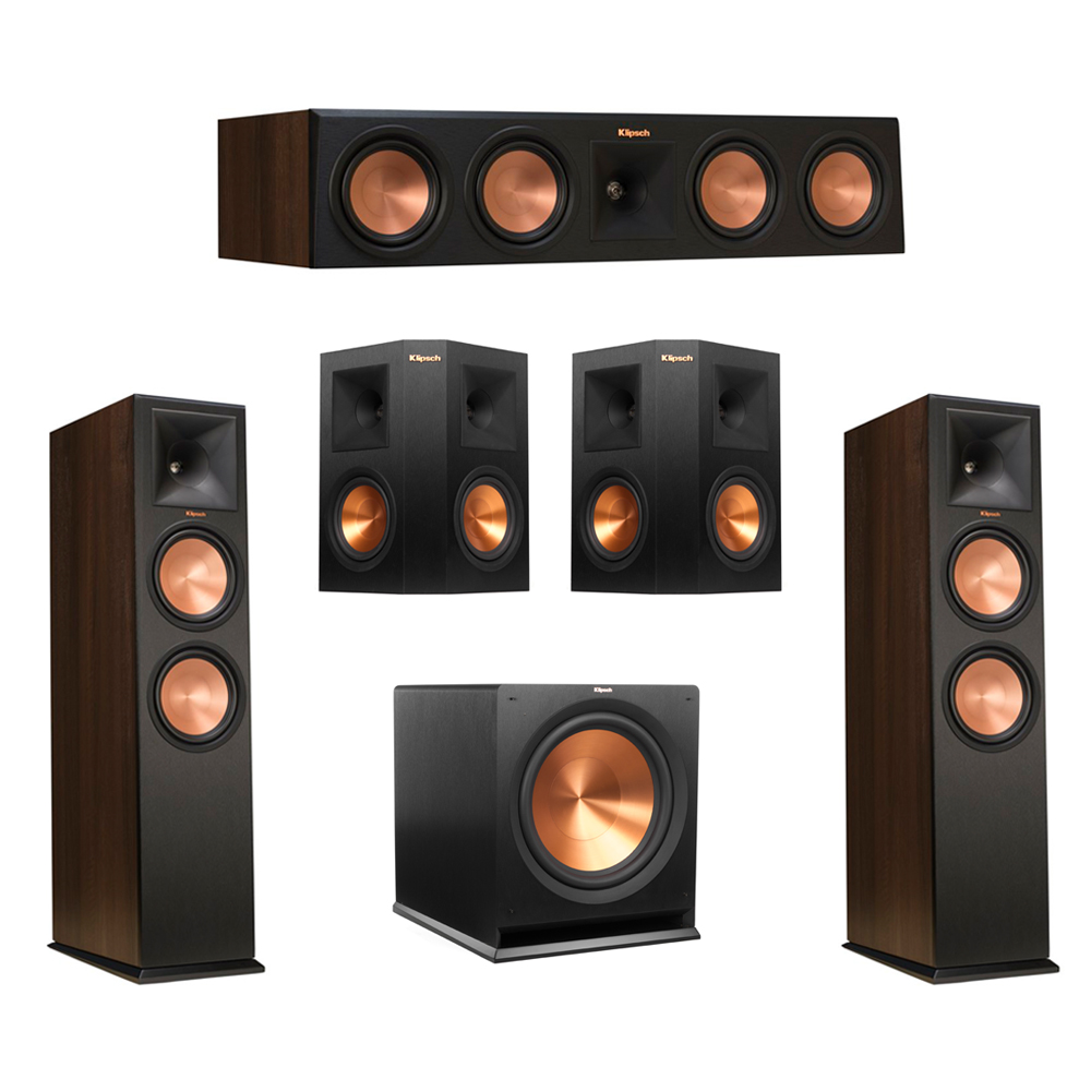 Klipsch 5.1 Walnut System with 2 RP-280F Tower Speakers, 1 RP-450C Center Speaker, 2 Klipsch RP-250S Ebony Surround Speakers, 1 Klipsch R-115SW Subwoofer