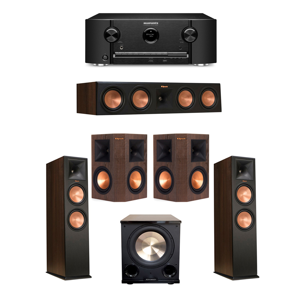 Klipsch 5.1 Walnut System with 2 RP-280F Tower Speakers, 1 RP-450C Center Speaker, 2 Klipsch RP-250S Surround Speakers, 1 BIC/Acoustech Platinum Series PL-200 II Subwoofer, 1 Marantz SR5012 Receiver