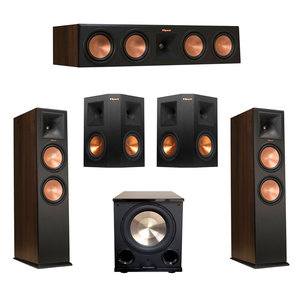 Klipsch 5.1 Walnut System with 2 RP-280F Tower Speakers, 1 RP-450C Center Speaker, 2 Klipsch RP-250S Ebony Surround Speakers, 1 BIC/Acoustech Platinum Series PL-200 II Subwoofer