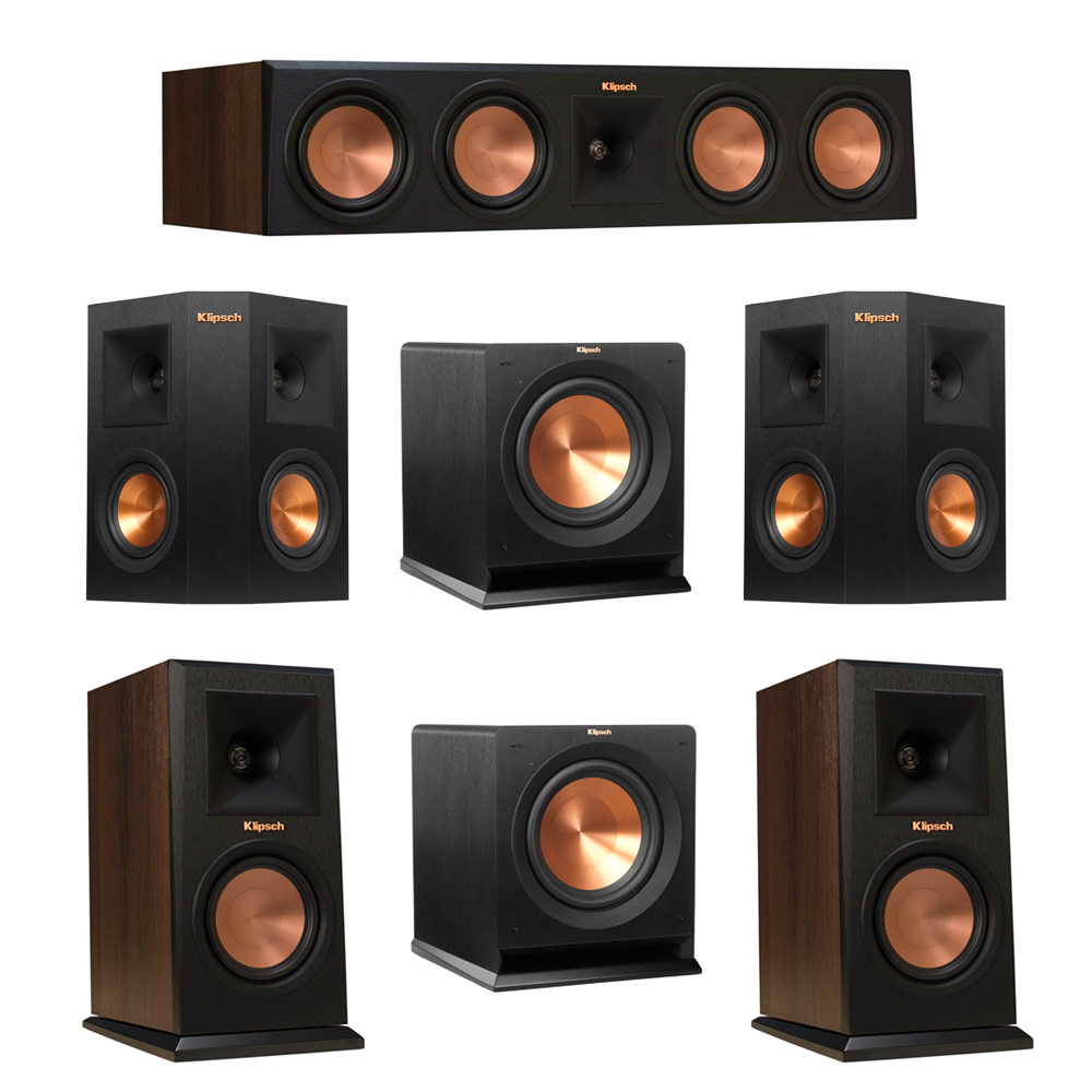 Klipsch 5.2 Walnut System with 2 RP-150M Monitor Speakers, 1 RP-450C Center Speaker, 2 Klipsch RP-240S Ebony Surround Speakers, 2 Klipsch R-110SW Subwoofer