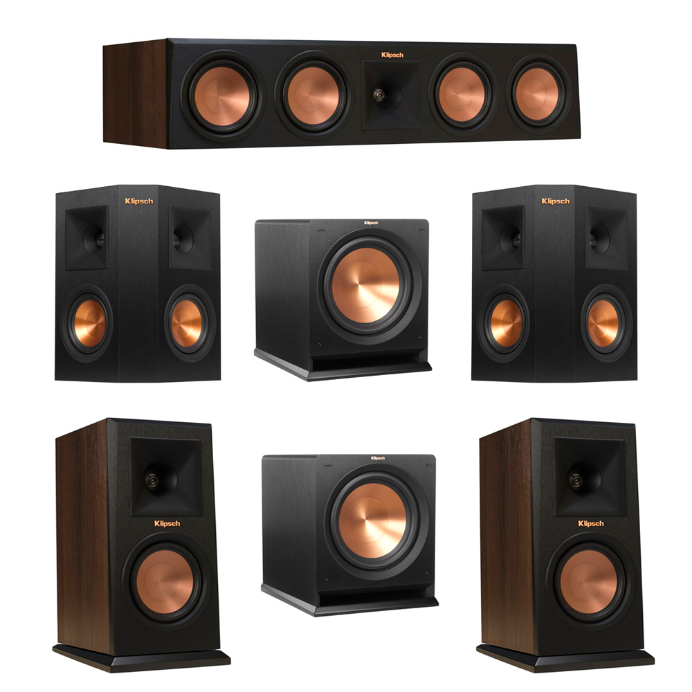 Klipsch 5.2 Walnut System with 2 RP-150M Monitor Speakers, 1 RP-450C Center Speaker, 2 Klipsch RP-240S Ebony Surround Speakers, 2 Klipsch R-112SW Subwoofer