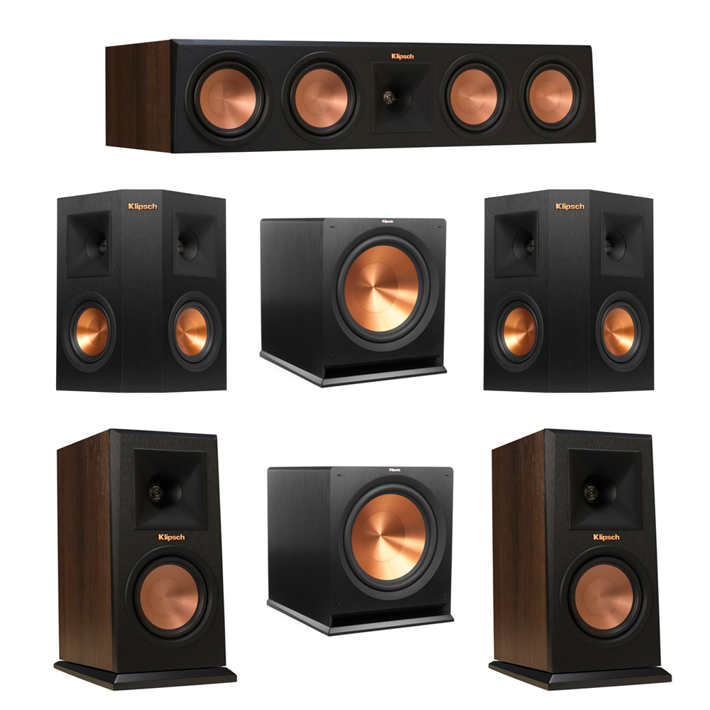 Klipsch 5.2 Walnut System with 2 RP-150M Monitor Speakers, 1 RP-450C Center Speaker, 2 Klipsch RP-240S Ebony Surround Speakers, 2 Klipsch R-115SW Subwoofer