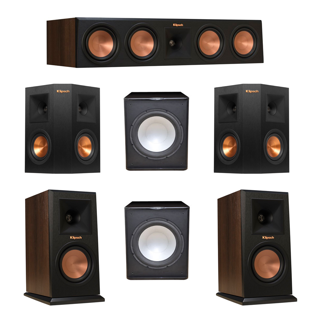 Klipsch 5.2 Walnut System with 2 RP-150M Monitor Speakers, 1 RP-450C Center Speaker, 2 Klipsch RP-240S Ebony Surround Speakers, 2 Premier Acoustic PA-150 Subwoofer