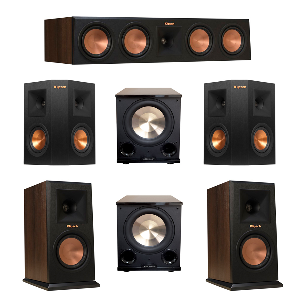 Klipsch 5.2 Walnut System with 2 RP-150M Monitor Speakers, 1 RP-450C Center Speaker, 2 Klipsch RP-240S Ebony Surround Speakers, 2 BIC/Acoustech Platinum Series PL-200 II Subwoofer