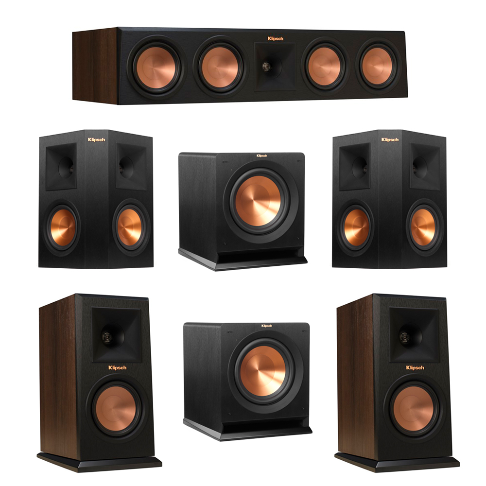 Klipsch 5.2 Walnut System with 2 RP-150M Monitor Speakers, 1 RP-450C Center Speaker, 2 Klipsch RP-250S Ebony Surround Speakers, 2 Klipsch R-110SW Subwoofer