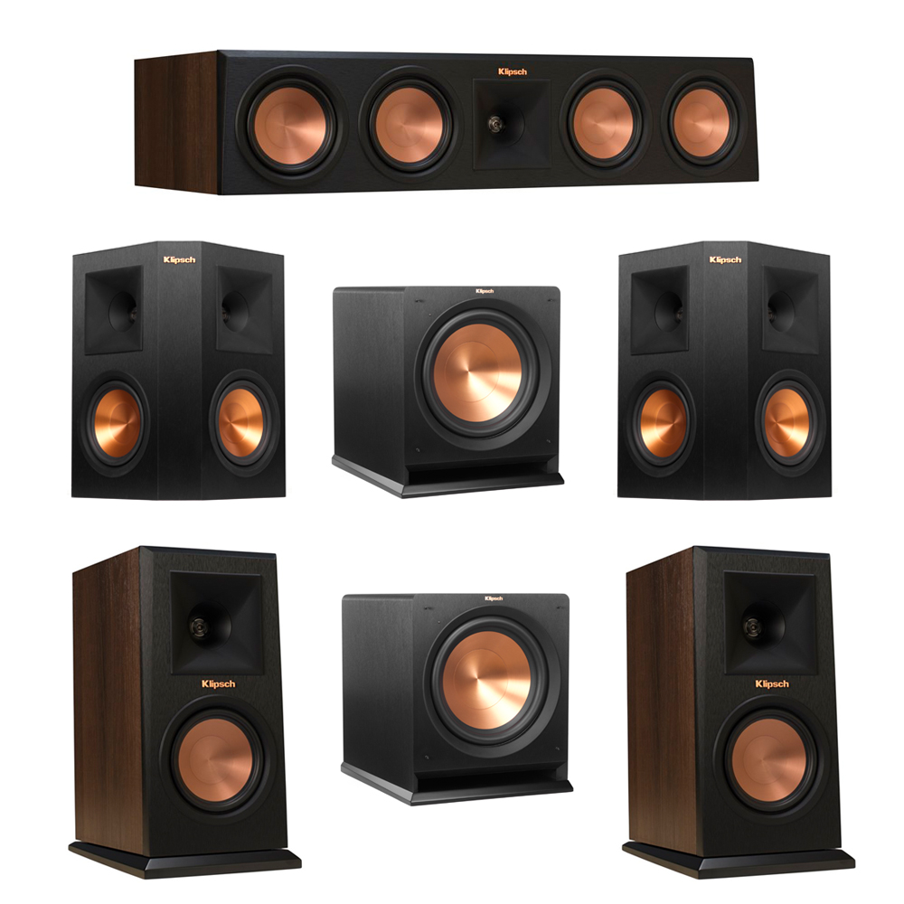 Klipsch 5.2 Walnut System with 2 RP-150M Monitor Speakers, 1 RP-450C Center Speaker, 2 Klipsch RP-250S Ebony Surround Speakers, 2 Klipsch R-112SW Subwoofer