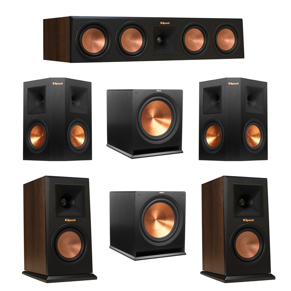 Klipsch 5.2 Walnut System with 2 RP-150M Monitor Speakers, 1 RP-450C Center Speaker, 2 Klipsch RP-250S Ebony Surround Speakers, 2 Klipsch R-115SW Subwoofer