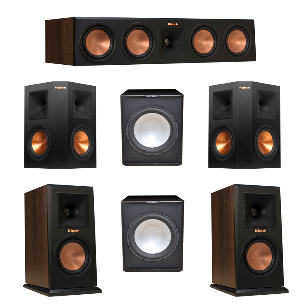 Klipsch 5.2 Walnut System with 2 RP-150M Monitor Speakers, 1 RP-450C Center Speaker, 2 Klipsch RP-250S Ebony Surround Speakers, 2 Premier Acoustic PA-150 Subwoofer