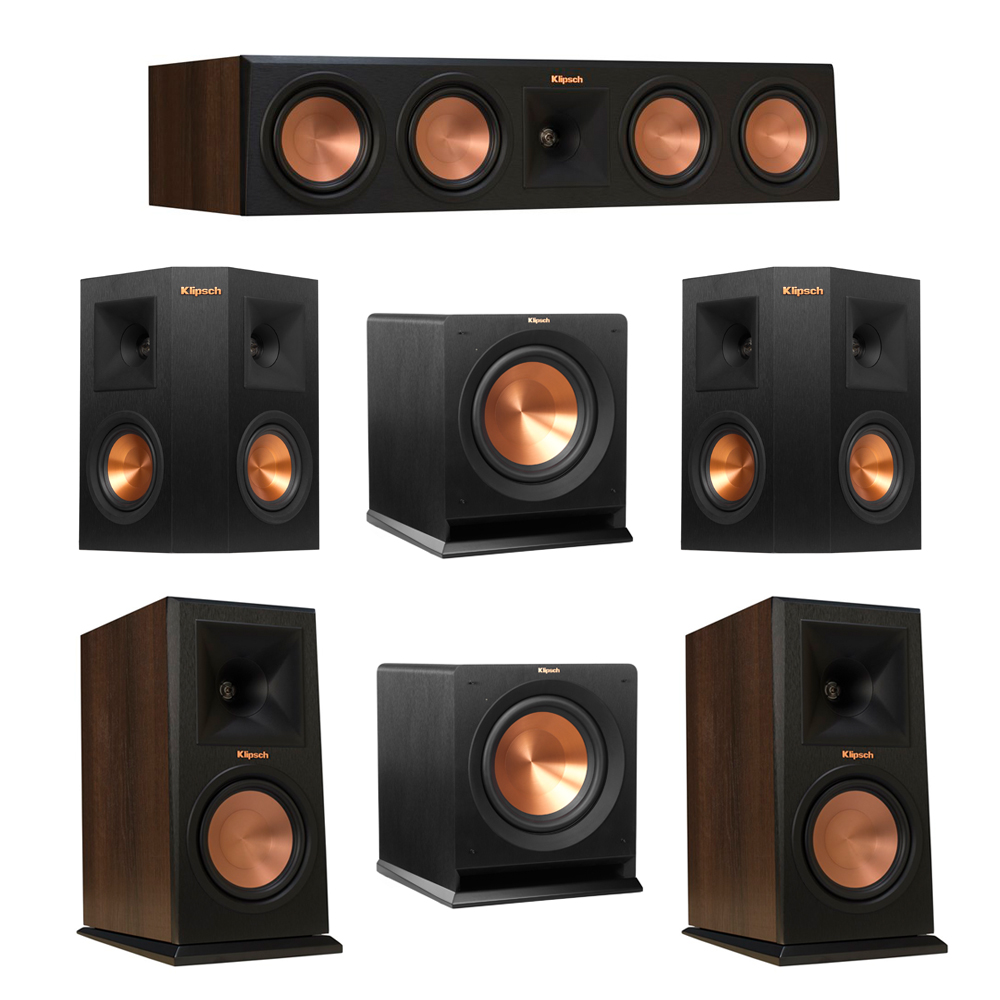 Klipsch 5.2 Walnut System with 2 RP-160M Monitor Speakers, 1 RP-450C Center Speaker, 2 Klipsch RP-240S Ebony Surround Speakers, 2 Klipsch R-110SW Subwoofer
