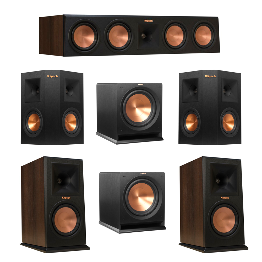 Klipsch 5.2 Walnut System with 2 RP-160M Monitor Speakers, 1 RP-450C Center Speaker, 2 Klipsch RP-240S Ebony Surround Speakers, 2 Klipsch R-112SW Subwoofer