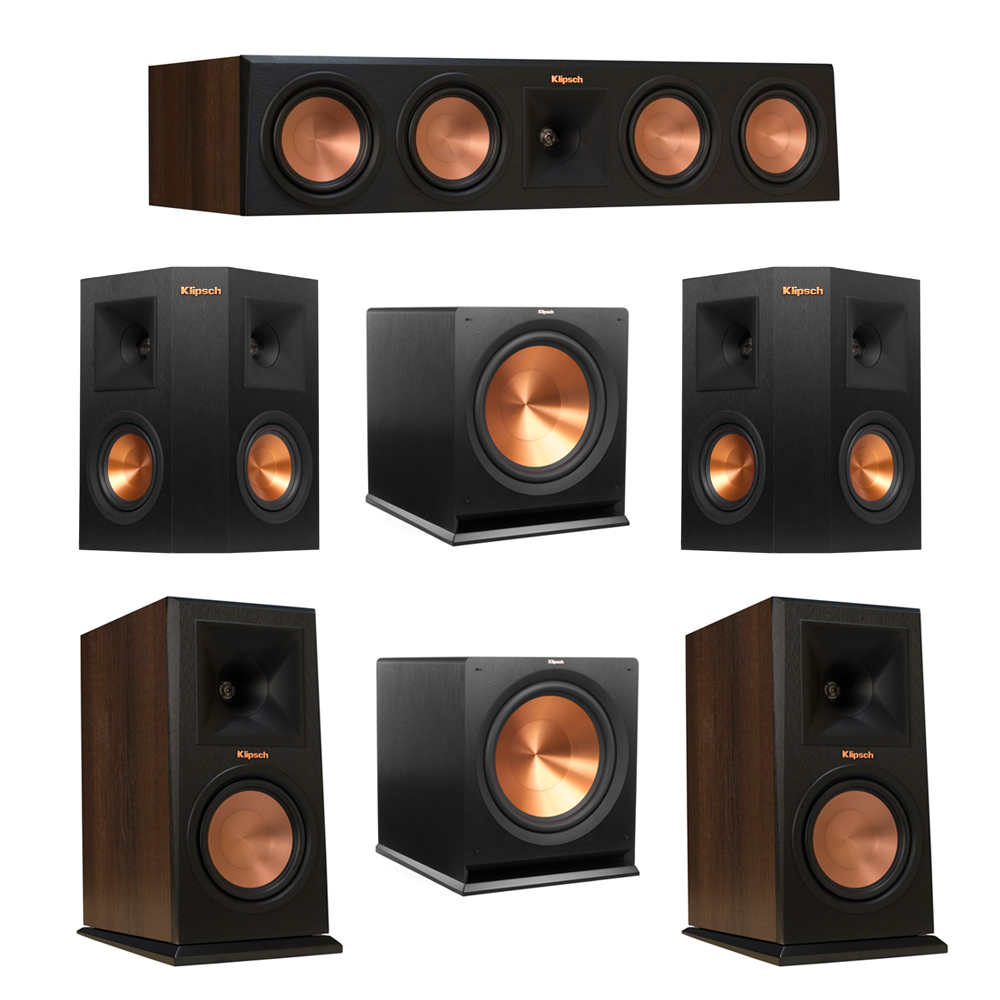 Klipsch 5.2 Walnut System with 2 RP-160M Monitor Speakers, 1 RP-450C Center Speaker, 2 Klipsch RP-240S Ebony Surround Speakers, 2 Klipsch R-115SW Subwoofer