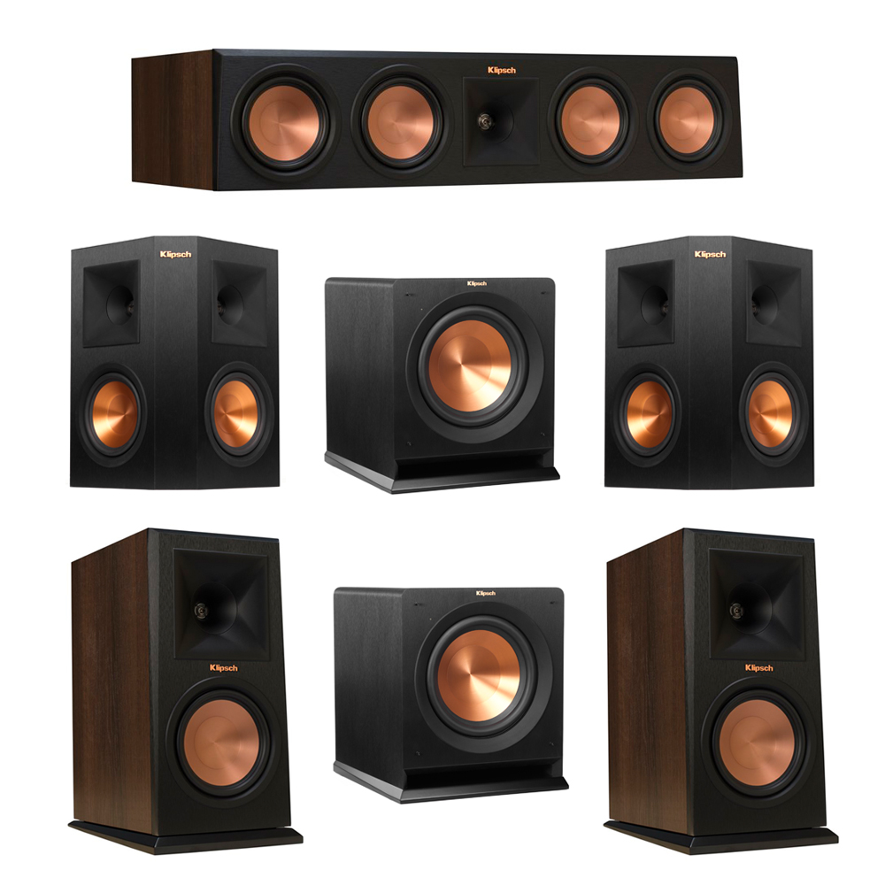 Klipsch 5.2 Walnut System with 2 RP-160M Monitor Speakers, 1 RP-450C Center Speaker, 2 Klipsch RP-250S Ebony Surround Speakers, 2 Klipsch R-110SW Subwoofer