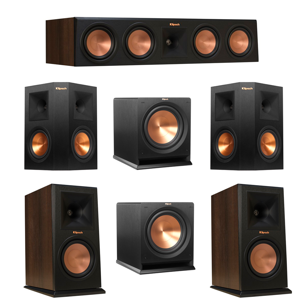 Klipsch 5.2 Walnut System with 2 RP-160M Monitor Speakers, 1 RP-450C Center Speaker, 2 Klipsch RP-250S Ebony Surround Speakers, 2 Klipsch R-112SW Subwoofer