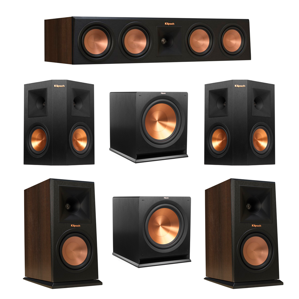 Klipsch 5.2 Walnut System with 2 RP-160M Monitor Speakers, 1 RP-450C Center Speaker, 2 Klipsch RP-250S Ebony Surround Speakers, 2 Klipsch R-115SW Subwoofer