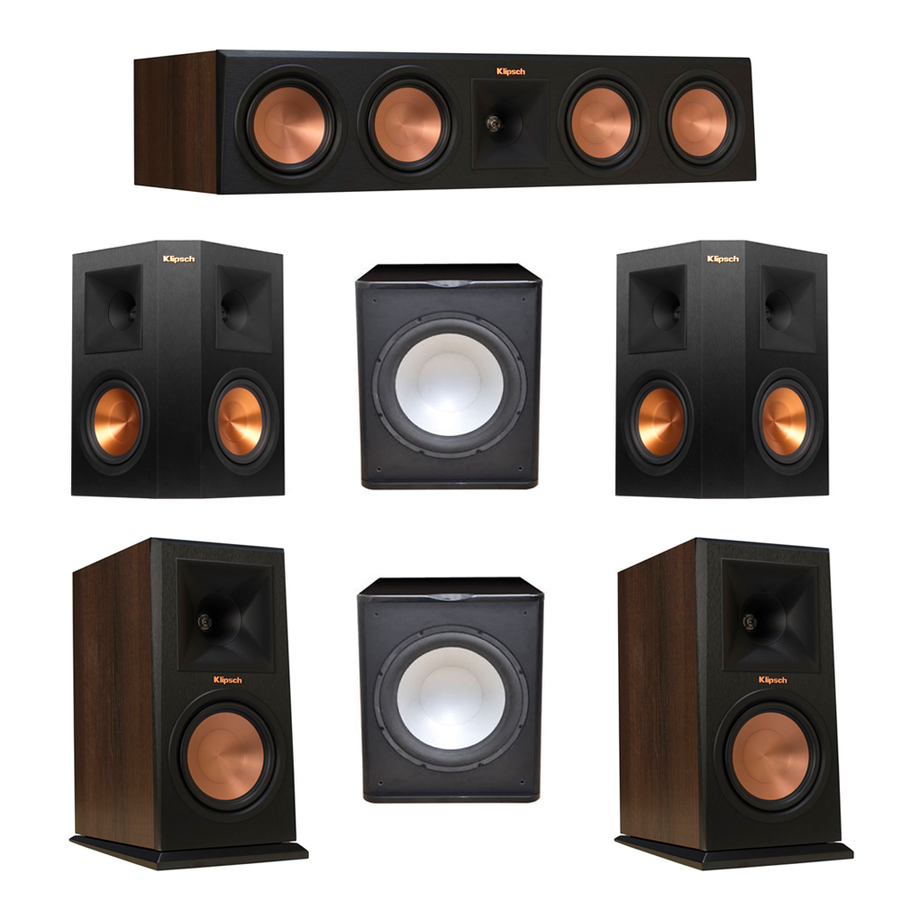 Klipsch 5.2 Walnut System with 2 RP-160M Monitor Speakers, 1 RP-450C Center Speaker, 2 Klipsch RP-250S Ebony Surround Speakers, 2 Premier Acoustic PA-150 Subwoofer