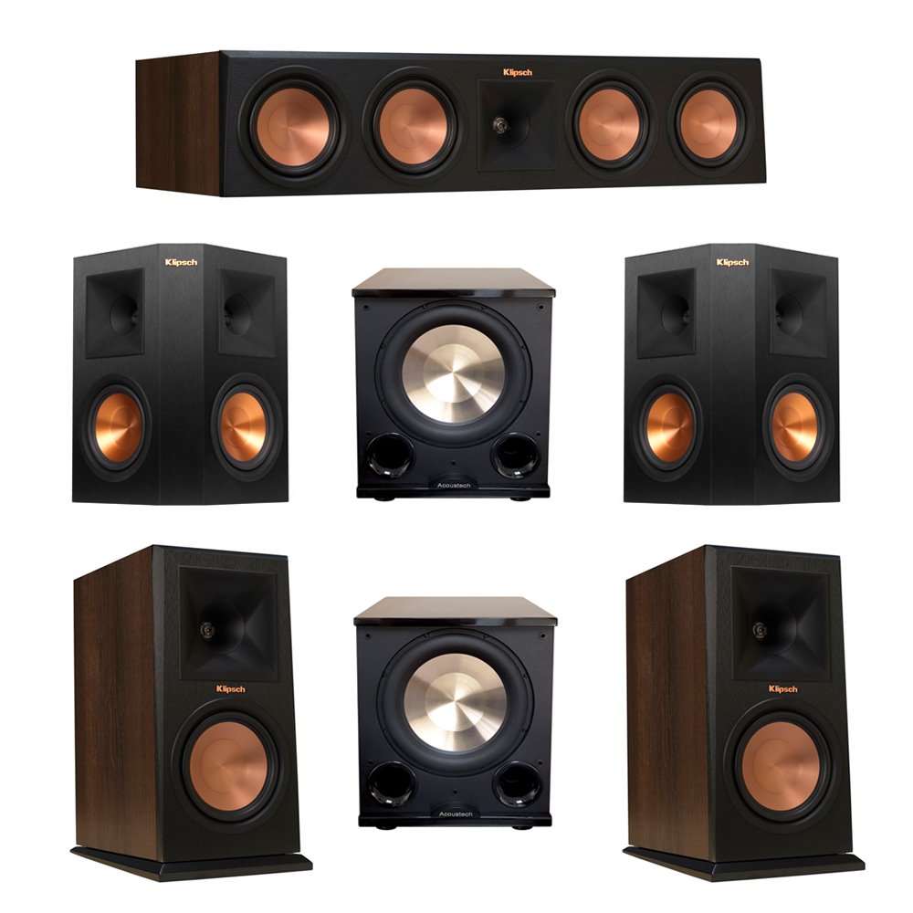 Klipsch 5.2 Walnut System with 2 RP-160M Monitor Speakers, 1 RP-450C Center Speaker, 2 Klipsch RP-250S Ebony Surround Speakers, 2 BIC/Acoustech Platinum Series PL-200 II Subwoofer