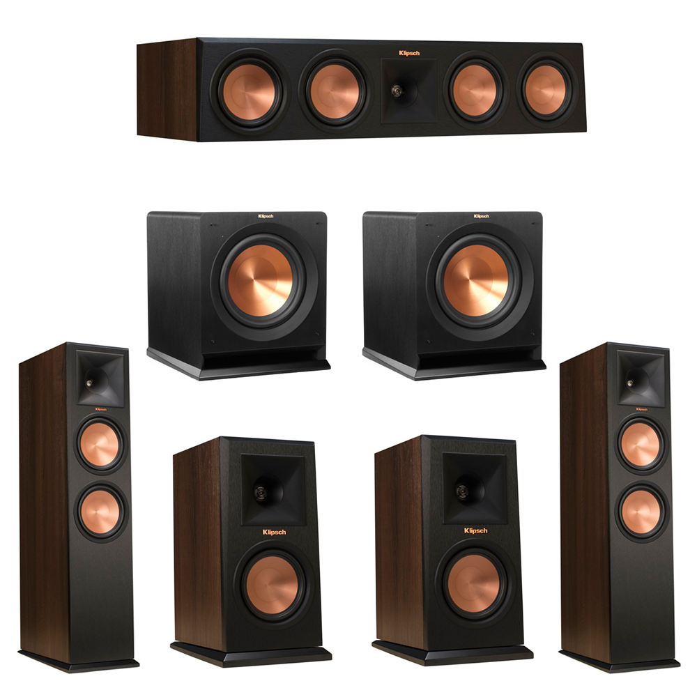Klipsch 5.2 Walnut System with 2 RP-280F Tower Speakers, 1 RP-450C Center Speaker, 2 Klipsch RP-150M Bookshelf Speakers, 2 Klipsch R-110SW Subwoofer