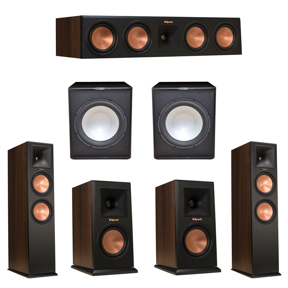 Klipsch 5.2 Walnut System with 2 RP-280F Tower Speakers, 1 RP-450C Center Speaker, 2 Klipsch RP-150M Bookshelf Speakers, 2 Premier Acoustic PA-150 Subwoofer