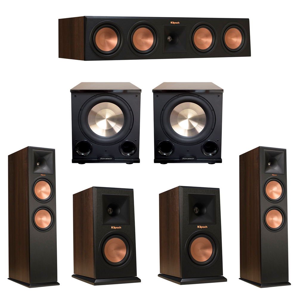 Klipsch 5.2 Walnut System with 2 RP-280F Tower Speakers, 1 RP-450C Center Speaker, 2 Klipsch RP-150M Bookshelf Speakers, 2 BIC/Acoustech Platinum Series PL-200 II Subwoofer