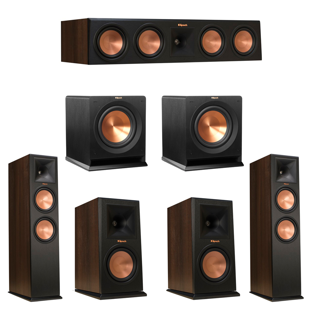 Klipsch 5.2 Walnut System with 2 RP-280F Tower Speakers, 1 RP-450C Center Speaker, 2 Klipsch RP-160M Bookshelf Speakers, 2 Klipsch R-110SW Subwoofer