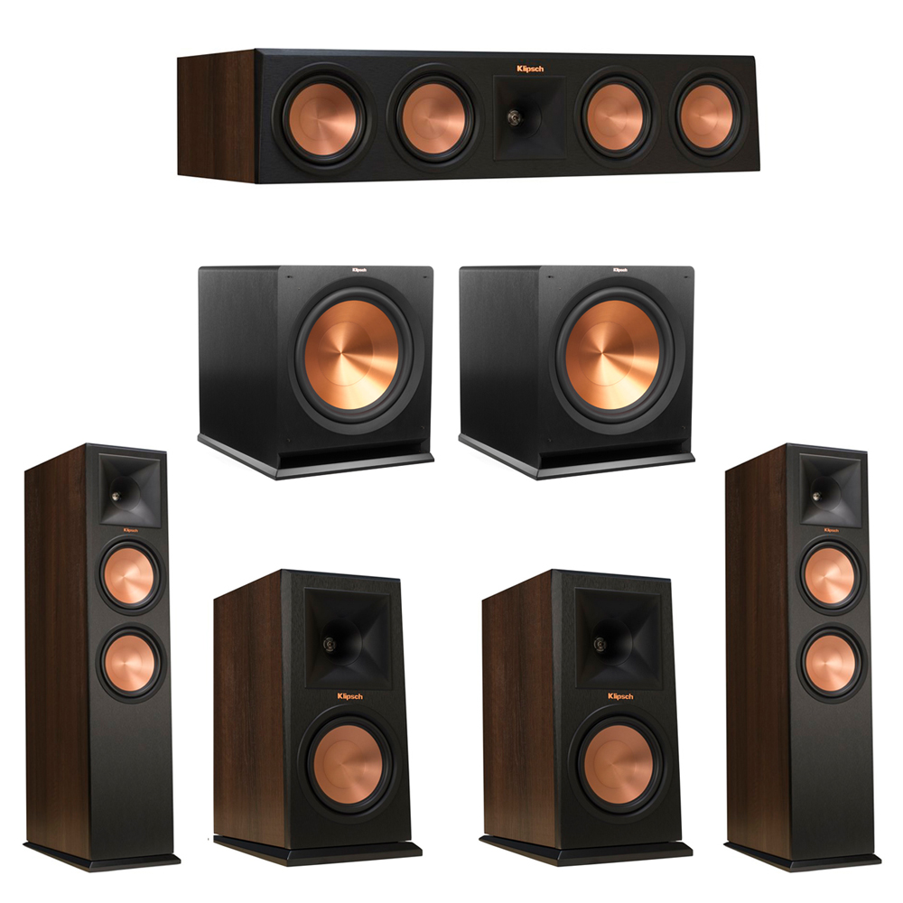 Klipsch 5.2 Walnut System with 2 RP-280F Tower Speakers, 1 RP-450C Center Speaker, 2 Klipsch RP-160M Bookshelf Speakers, 2 Klipsch R-115SW Subwoofer
