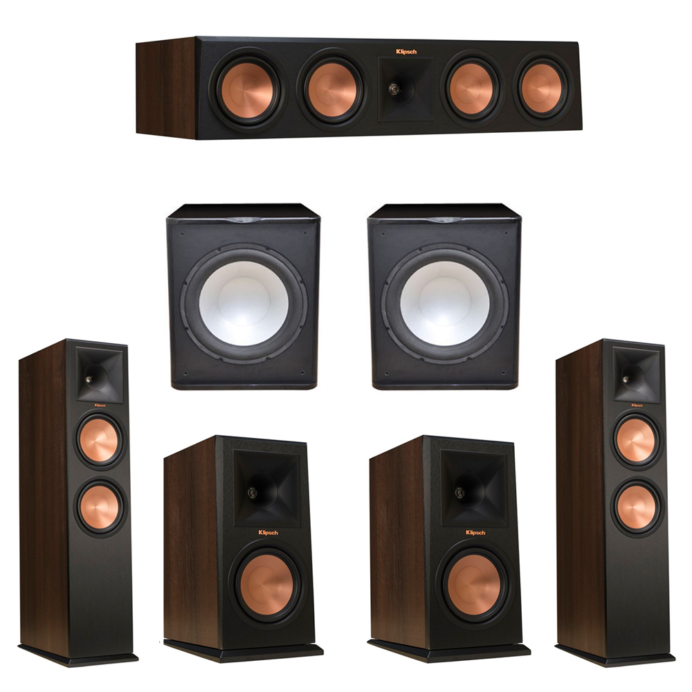 Klipsch 5.2 Walnut System with 2 RP-280F Tower Speakers, 1 RP-450C Center Speaker, 2 Klipsch RP-160M Bookshelf Speakers, 2 Premier Acoustic PA-150 Subwoofer