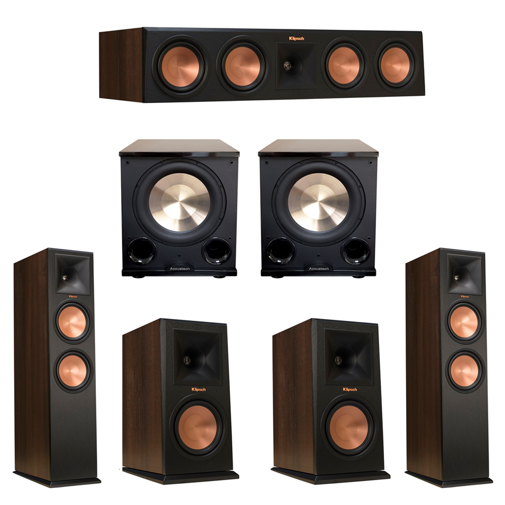 Klipsch 5.2 Walnut System with 2 RP-280F Tower Speakers, 1 RP-450C Center Speaker, 2 Klipsch RP-160M Bookshelf Speakers, 2 BIC/Acoustech Platinum Series PL-200 II Subwoofer