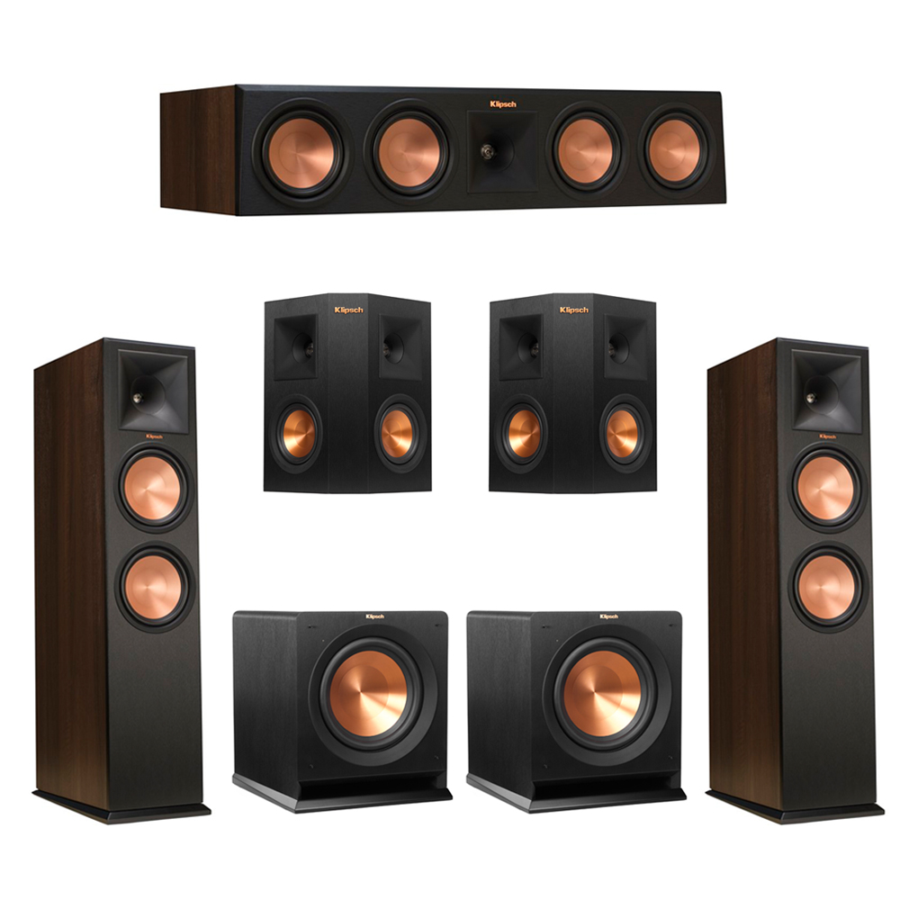 Klipsch 5.2 Walnut System with 2 RP-280F Tower Speakers, 1 RP-450C Center Speaker, 2 Klipsch RP-240S Ebony Surround Speakers, 2 Klipsch R-110SW Subwoofer